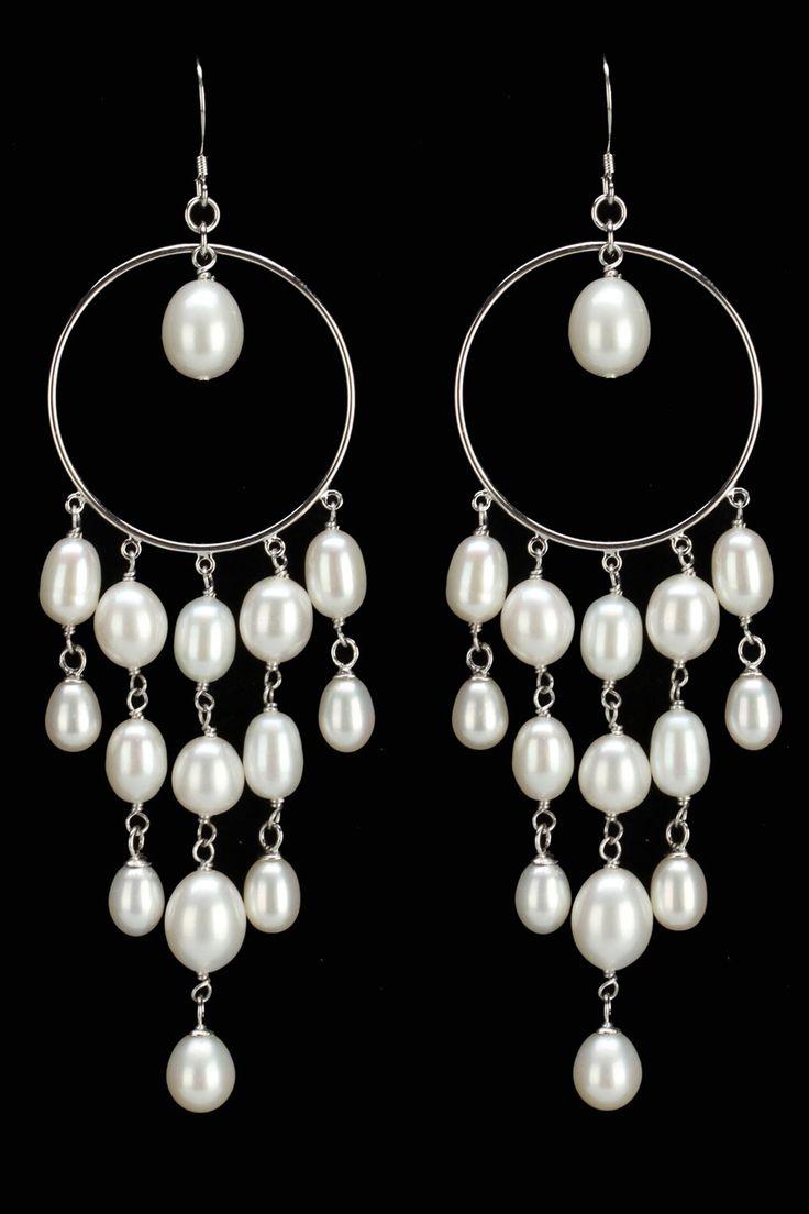 Freshwater Pearl Chandelier Earrings In White.
