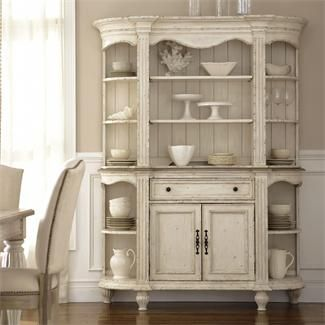 Beautiful Server and Hutch, the weathered and distressed look is gorgeous! Coventry Server and Hutch I Riverside Furniture