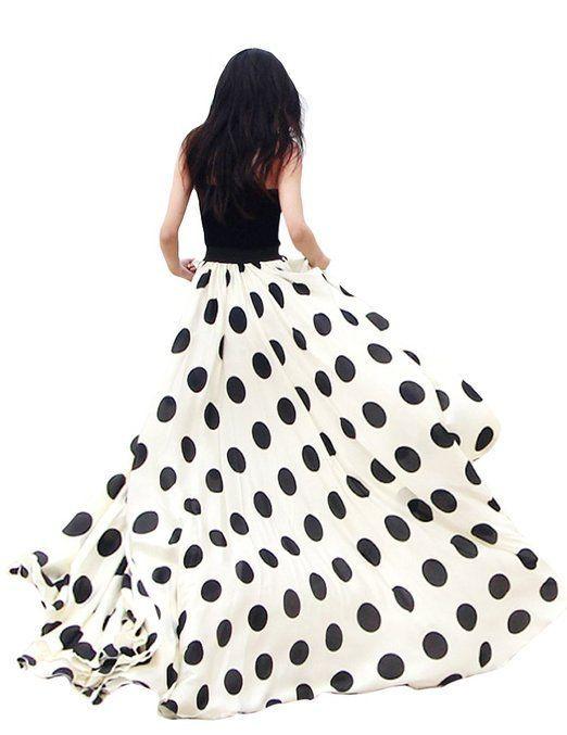 Jollychic Womens Black Dot Chiffon Maxi Full-length Skirt Big Hem Beach Dress----love me some polka dots. wish i had more of them in my life!!!
