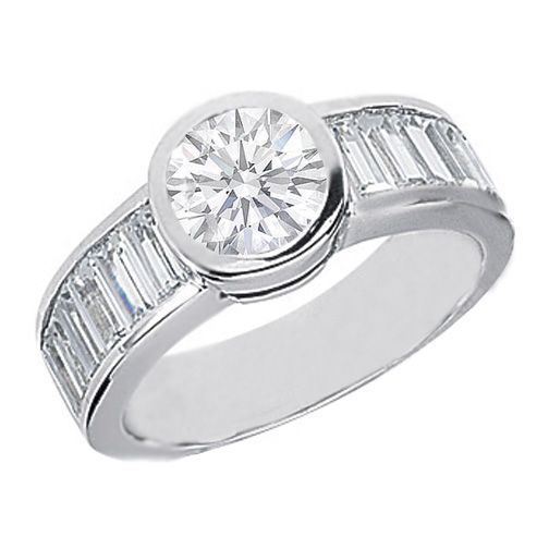 Bezel Set Round Diamond Engagement Ring with Channel Set Baguettes 1.68 tcw. In 14K White Gold