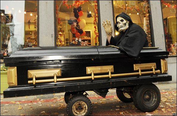 Motorized Coffin roaming the streets of Salem, Mass. on Halloween