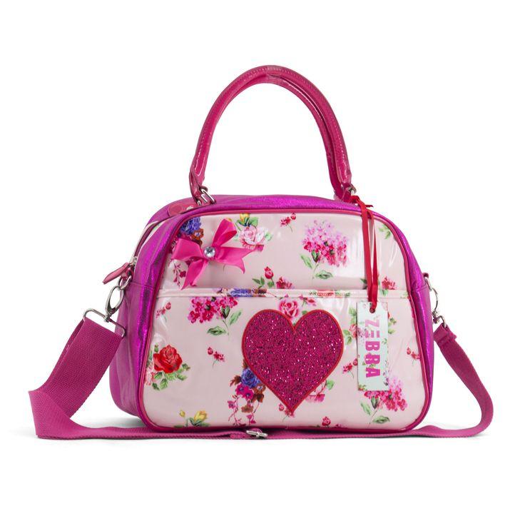 Superleuke bowlingbag van Zebra Trends met vrolijke bloemetjes en een glitter hart op de voorkant
