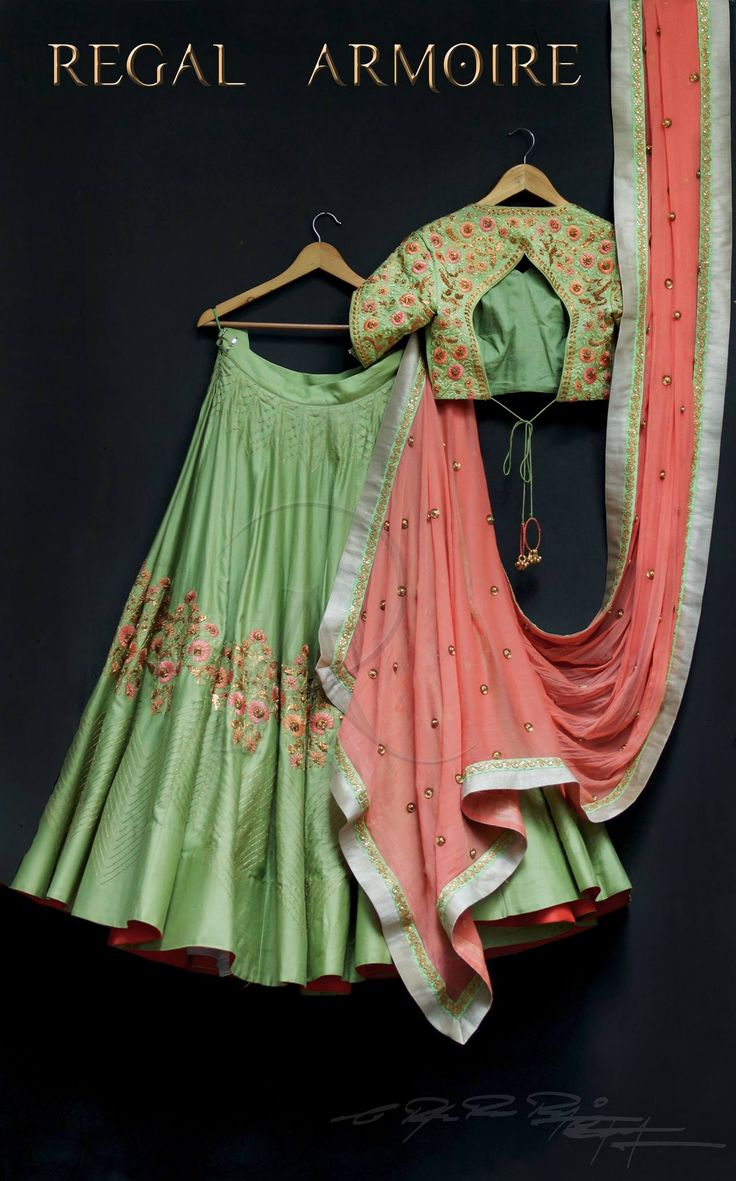 Beautiful pista green color lehenga and blouse with pink color dupatta. Lehenga and blouse with floral design hand embroidery thread work. 15 September 2017