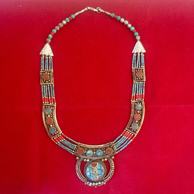 Handmade Tribal Necklace Tibetan Silver Turquoise Coral Fashion Women Jewellery