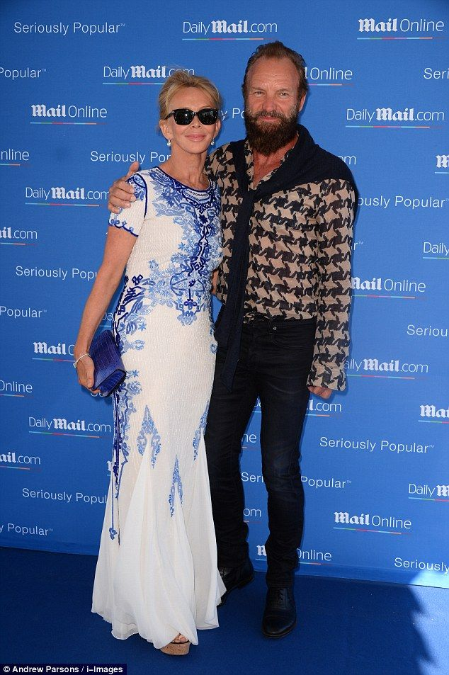 Ready to party: Sting and wife Trudie Styler looked every inch the stylish couple as they ...