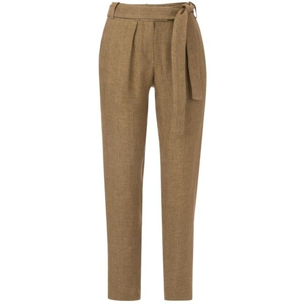 Pre-owned Maje Camel Trousers (£175) ❤ liked on Polyvore featuring pants, camel, women clothing trousers, camel trousers, maje, camel pants, brown pants and brown trousers