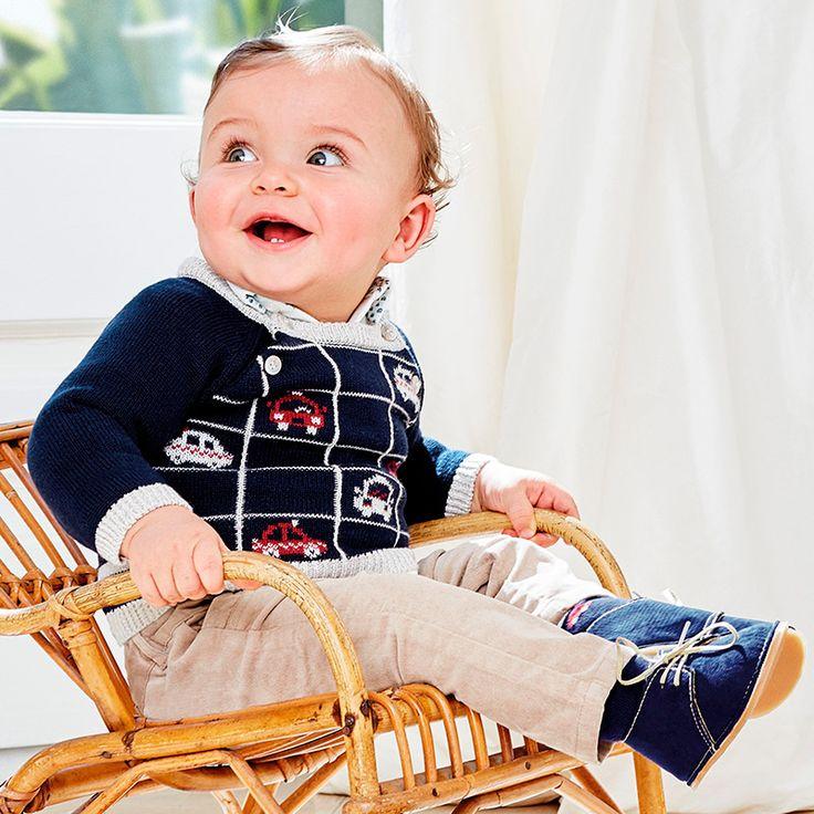 Mayoral Erkek Bebek Kışlık Kadife Pantolon Örme Kazak Takım Koyu Mavi - Bebek House