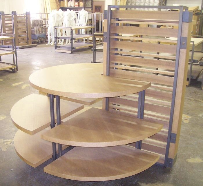 Tiered Display Tables Semi Round Wood And Metal Multi