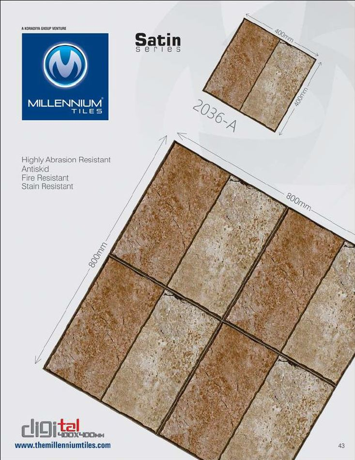 CF Tile Design 2036-A - Millennium Tiles 400x400mm (16x16) Digital Ceramic CF Satin #Tiles  - Indoor & Outdoor use - Highly Abrasion Resistant  - Anti Skid  - Fire Resistant  - Stain Resistant - Full Body Tiles: Keeps the aesthetic value of the product intact even under extreme conditions like chipping, scratching and fading in heavy traffic areas such as Shopping Complexes, Airports, Public/Administrative Buildings, Workshops, Shopping Malls, Train Stations, Hospitals, Hotels…