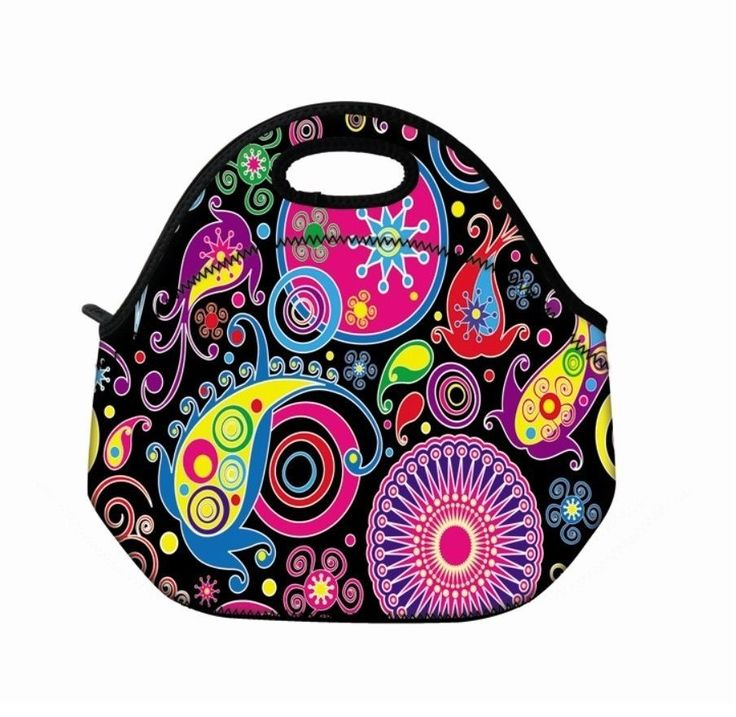 Colorful Pattern Portable Insulated Lunch Tote Bag Lunchbox Bag Neoprene Handbag