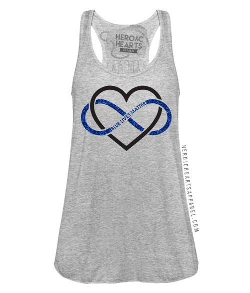 """Hope, Love, Sacrifice. #Bluelivesmatter"" top. Proudly supporting our law enforcement and the men and women who support them. Choose your apparel option and print color to make this completely customizable for you! Unsure of sizing? Click here for a size chart. Want to customize this even more? Click here to add a name/text or emblem to your shirt!"