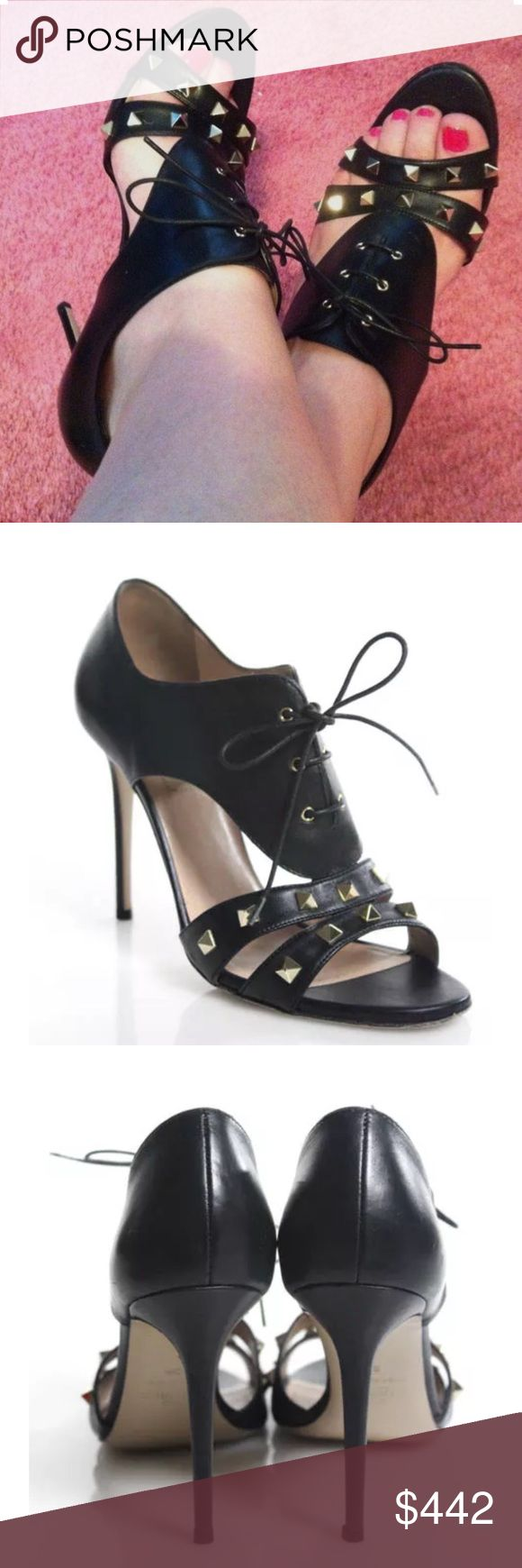 Valentino Rockstud lace up cutout sandal booties 9 100% authentic! Valentino Rockstud lace up cutout leather sandal booties, size 39.  Open toe.  There is wear on the soles, and slight wear to the insoles.  The leather is in fantastic condition, and all the studs are intact.  Overall, very good condition!  Comes with original box.  Retail $895.  The model photo is for fit and style reference only. She is wearing the same style shoe that I have for sale, but in the leopard print version…