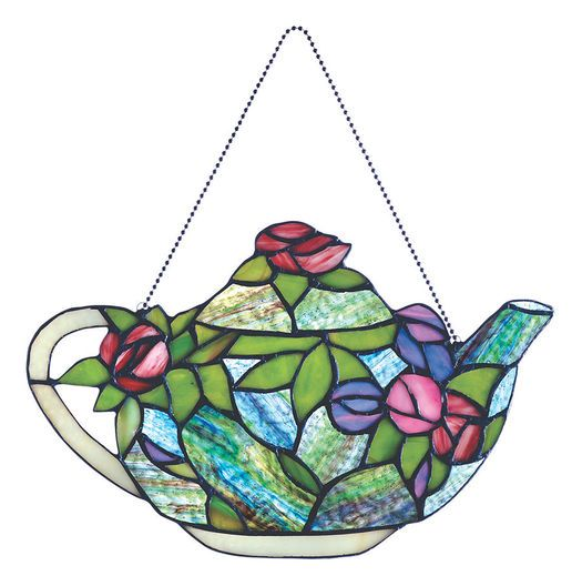 English Roses Teapot Stained Glass
