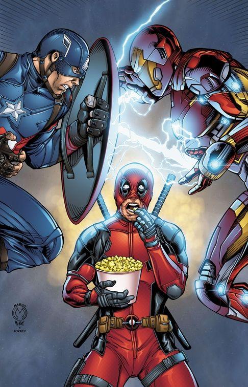 Deadpool Watches Civil War by Marat Mychaels