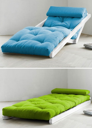 Futon Chaise Lounge from FutonCreations  This futon looks stylish as a chair and, folded flat, creates a dashing little bed.