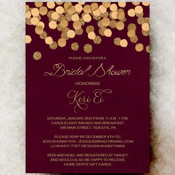 fe62f948dce7 Red Gold Bridal shower Invitation Winter by DivineGiveDigital ...