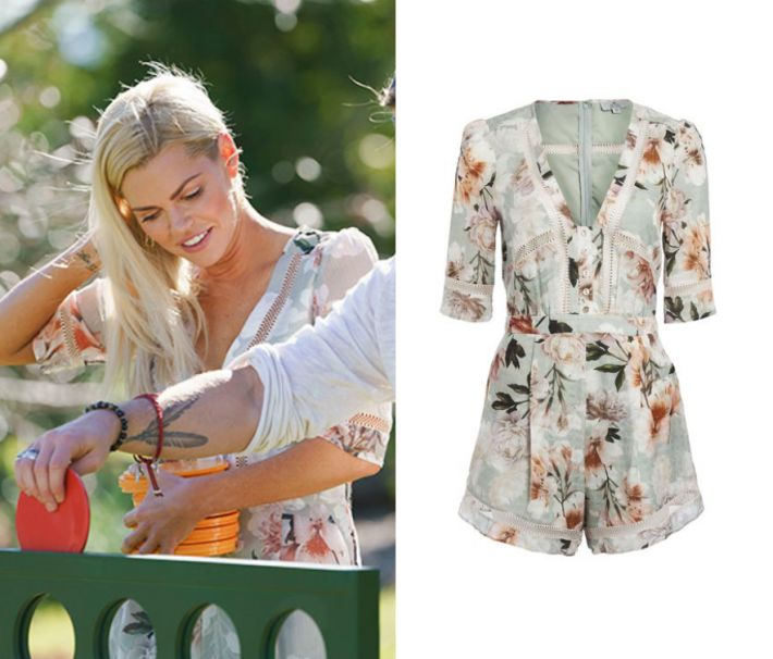 Sophie Monk wears this floral printed v neck romper in this episode of The Bacherlorette on Thursday the 12th of October 2017. It is the We Are Kindred Magnolia Romper in Sage Tigerlily.