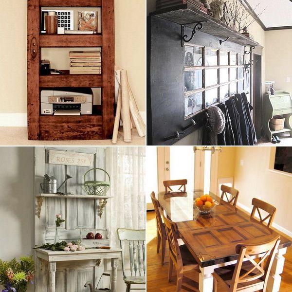 Винтажная мебель из старых дверей: 54 оригинальные идеи для вдохновения