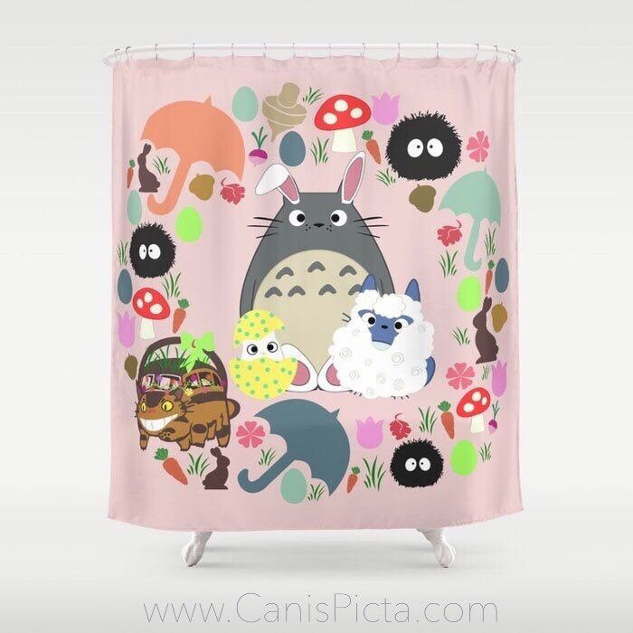 Easter Totoro Shower Curtain 71x74 Decorative Bath Tub Room