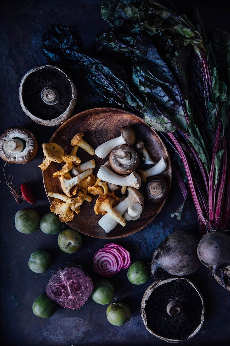 mushrooms and beetroot
