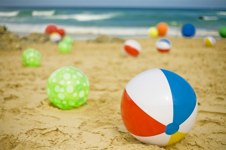 Colourful Beach Wedding Ceremony. Beach Balls