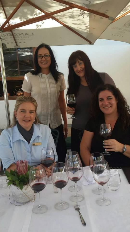 Angie Hadjidakis from J&M Famous Biltong, Samarie Smit from Die Burger's Versnit with Jo-Anna and Zelda from Lanzerac