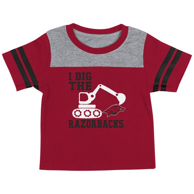 Arkansas Razorback Infant T-Shirt Striped Sleeve Dig 'Em Tee
