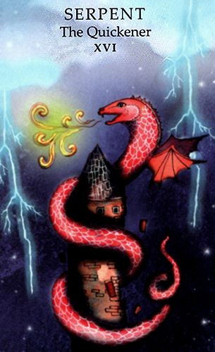 """Free Daily Tarotscope — Aug 25, 2014 — The Serpent -- Today's theme is """"out with the old and in with the new"""" courtesy of a New Moon in Virgo and a Mars/ Saturn conjunction in Scorpio. What better representation of this energy than the Tower card, referred to here as the Serpent or Quickener.... (more)..."""