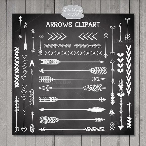 VECTOR Hand Drawn clipart arrows by burlapandlace on Creative Market