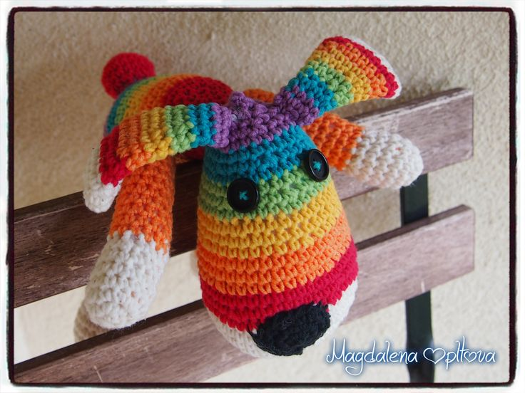 crochet rainbow dog