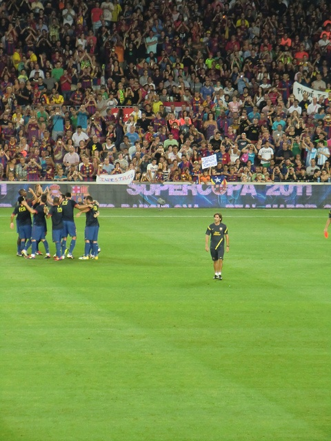 Barça players and supporters. The match is about to start!