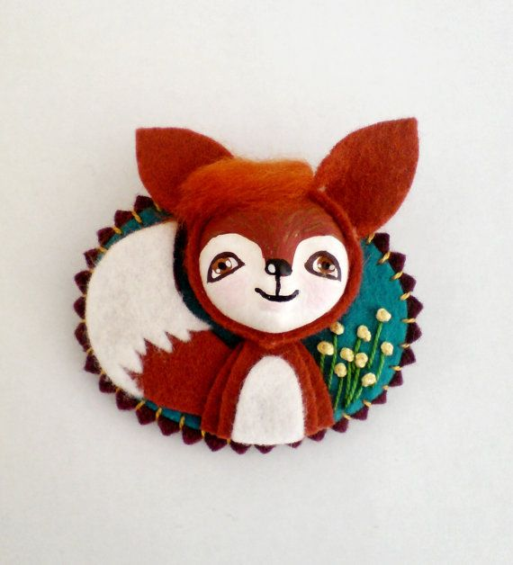 Fox Felt Brooch animal jewelry woodland animal brooch by yalipaz, $18.00