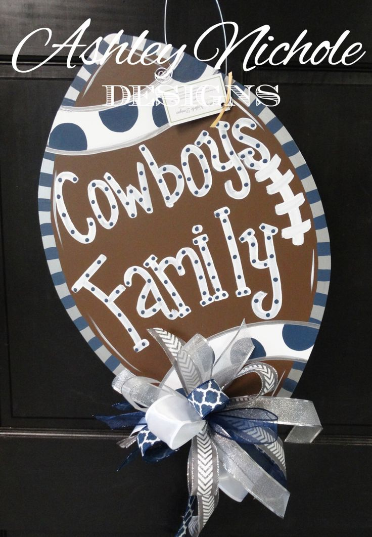 Dallas Cowboys Inspired Football Door Hanger, Door Decoration,  Fall Wreath, Wooden Football by DesignsAshleyNichole on Etsy https://www.etsy.com/listing/246915951/dallas-cowboys-inspired-football-door
