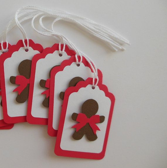 Gingerbread Boy Gift Tags - Red, White and Brown on Etsy, $2.50