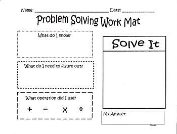 This is a great mat for students to use while problem solving in math. This mat enables students to see what they already know from reading the pro...