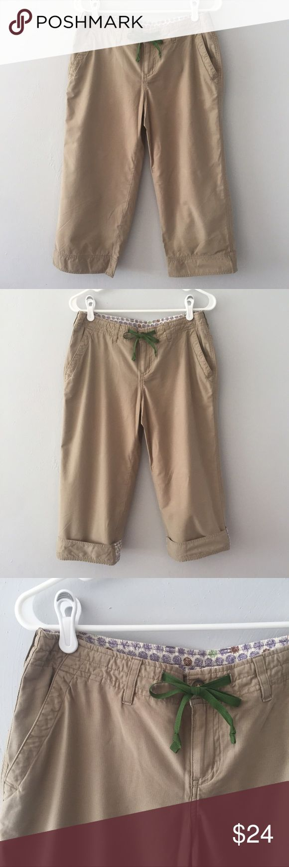 Horny Toad Khaki Capris This is pair of Horny Toad (now Toad & Co) classic khaki capris. You can wear them down or roll up the cuffs to see a fun, contrasting floral pattern. The fabric is a cotton/poly blend so they will keep you cool on a warm day. Horny Toad Pants Capris