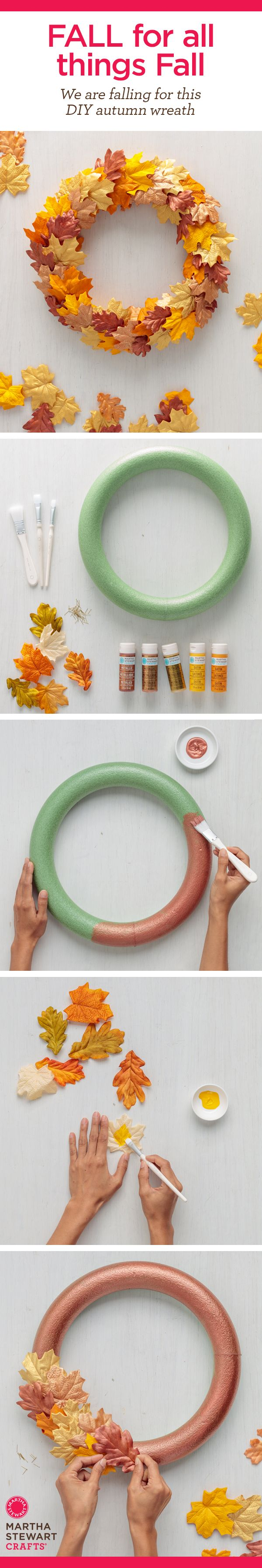 Craft Painting - Easy Stencil Project - DIY Fall Leaf Wreath from Martha Stewart's Mad About DIY November. A great Thanksgiving decor project for this Autumn!