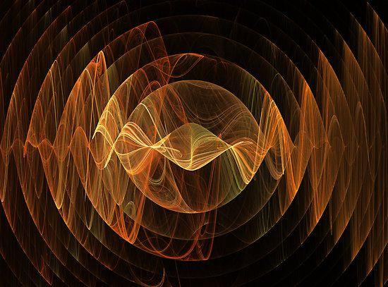 Orange Sound Waves by Deborah  Benoit