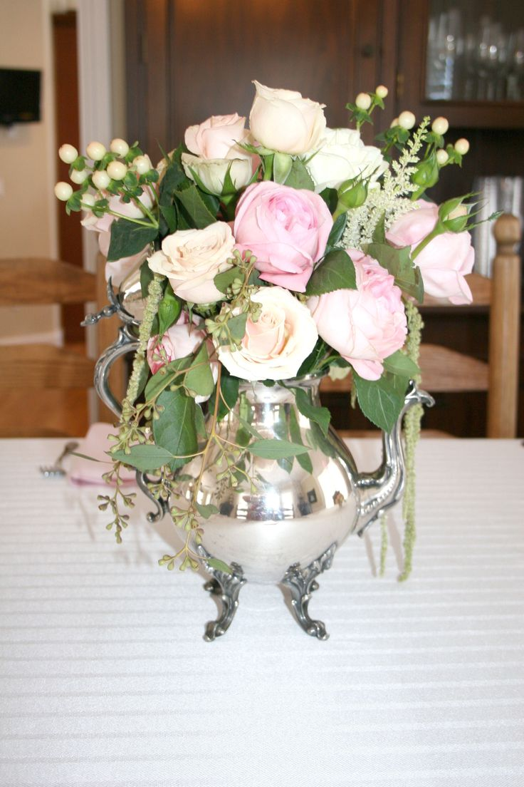 Antique Silver Teapot Centerpiece Arrangements Roses White Gloria Astilbe Hanging Amaranths Garden