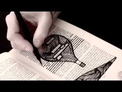 Discover the hidden poems in a page of an old book, draw any subject and find the words hidden in the page...