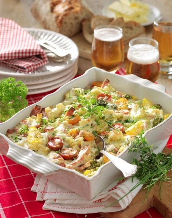 Grateng med falukorv og brokkoli