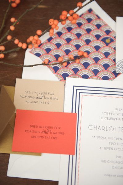 love the navy & coral, love the envelope liner & the font