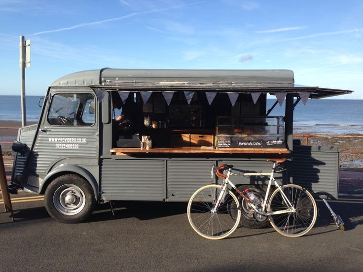 Bertrand with Providero the coffee van on the Old Colwyn Prom, North Wales.