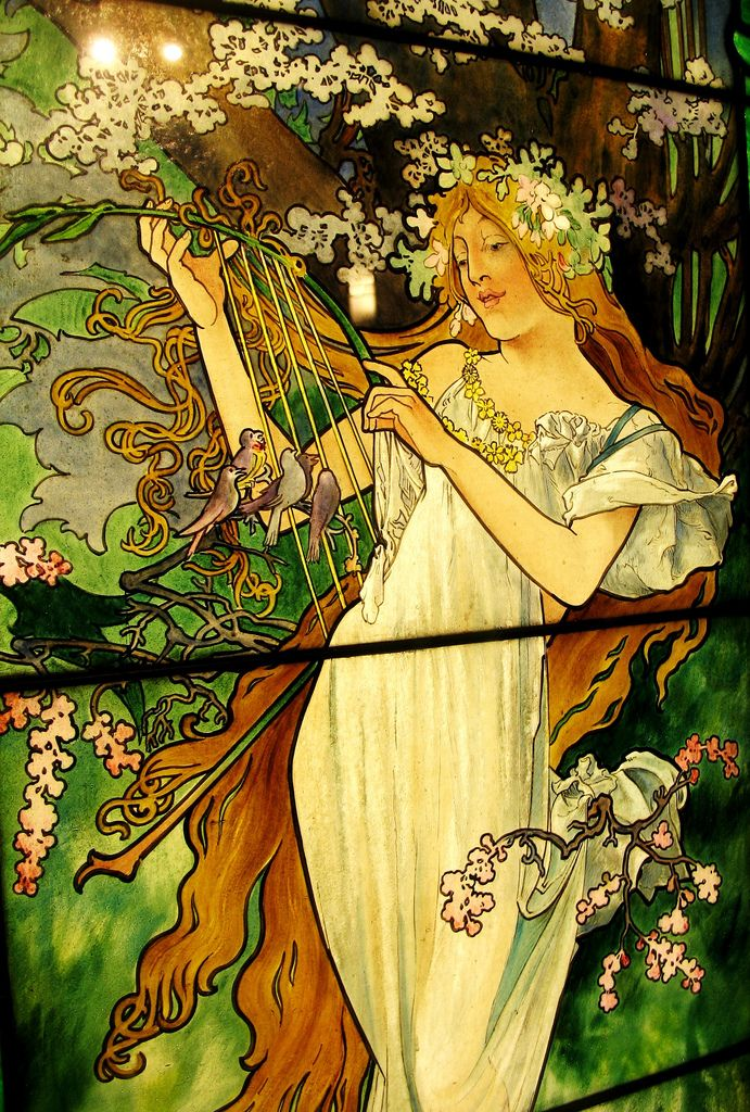 Spring, a stained glass window by Alphonse Mucha from the Smith Museum of Stained Glass, Chicago