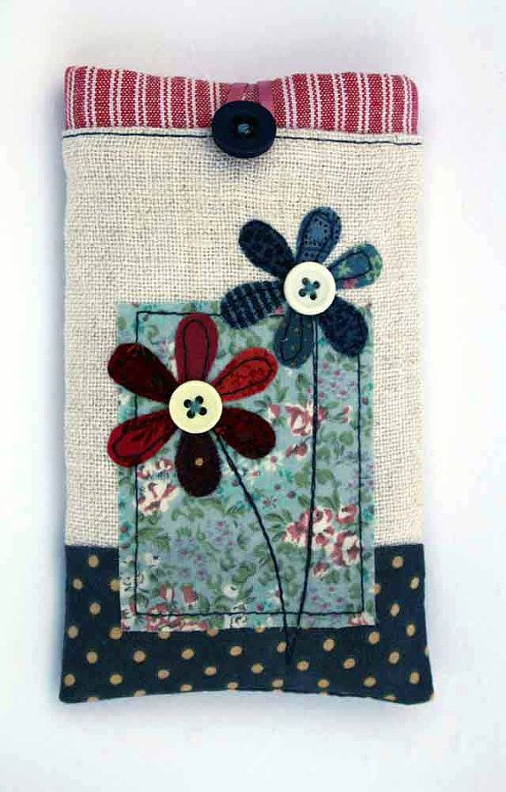 Phone Case Button Flowers linen and vintage by PuffinPatchwork