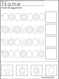 easter egg pattern worksheet cut and paste kindergarten april pinterest worksheets easter. Black Bedroom Furniture Sets. Home Design Ideas