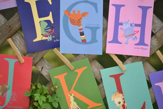 Childrens Art ABC Animal Alphabet Flash Cards 4x6 Wall Art Nursery Decor on Etsy, $20.00