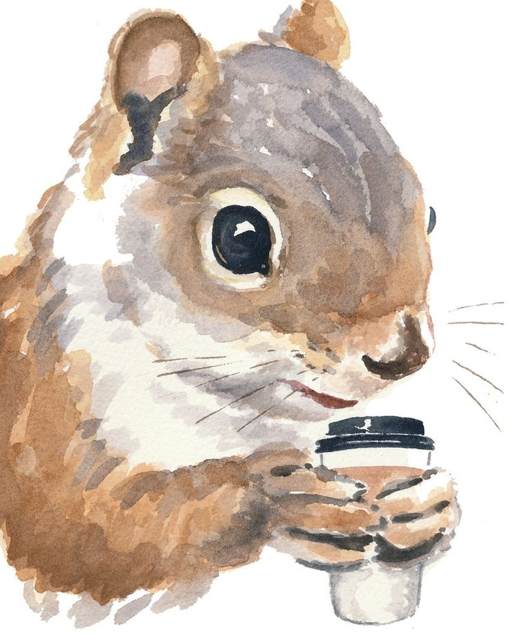 Squirrel Watercolour PRINT - Coffee Drinking Squirrel Painting, 8x10 Print, Funny Painting. $15.00, via Etsy.