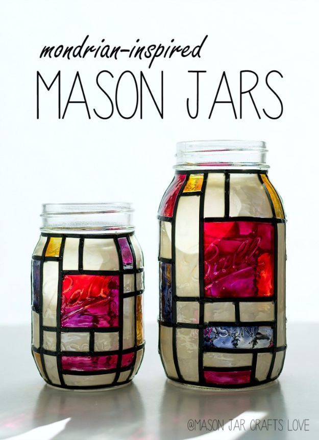 Cute DIY Mason Jar Ideas - Mondrian Inspired Mason Jars - Fun Crafts, Creative Room Decor, Homemade Gifts, Creative Home Decor Projects and DIY Mason Jar Lights - Cool Crafts for Teens and Tween Girls http://diyprojectsforteens.com/cute-diy-mason-jar-craf