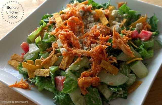 Casa de Crews: Shredded Buffalo Chicken Salad for #SundaySupper